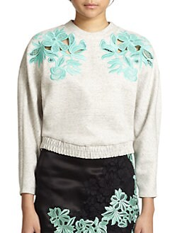 3.1 Phillip Lim - Cutout Embroidered-Lace Sweatshirt