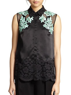 3.1 Phillip Lim - Lace & Mesh-Paneled Silk Satin Shirt