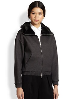 3.1 Phillip Lim - Rabbit Fur-Trimmed Knit Bomber Jacket
