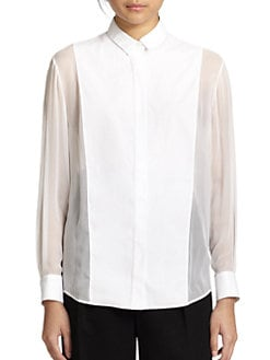3.1 Phillip Lim - Sheer-Paneled Silk/Cotton Shirt
