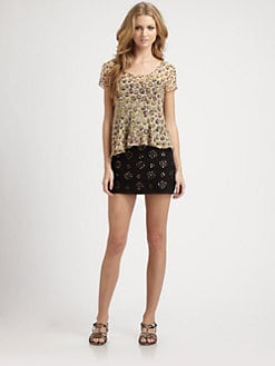 Gryphon - Leopard-Print Peplum Top