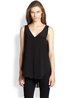 10 Crosby Derek Lam - Silk Sheer Pleated Back-Panel Tank