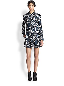 Thakoon Addition - Printed Silk Crossover-Front Shirtdress