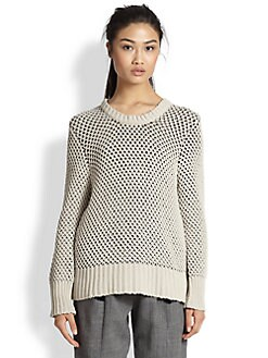 Thakoon Addition - Honeycomb-Knit Back-Zip Sweater