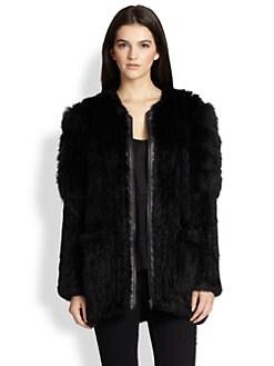 Elizabeth and James - Tarra Leather-Trimmed Rabbit/Coyote Fur Jacket