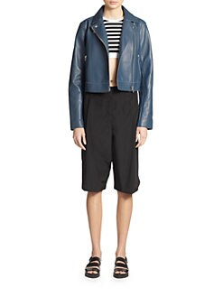 T by Alexander Wang - Boxy Pebbled Leather Motorcycle Jacket