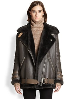 Acne Studios - Oversized Lamb Shearling/Leather Motorcycle Jacket