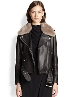 Acne Studios - Mape Lamb Shearling-Trimmed Leather Jacket