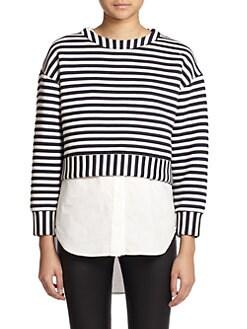 10 Crosby Derek Lam - Layered Striped Sweatshirt/Sleeveless Shirt Combo Top