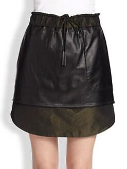 10 Crosby Derek Lam - Leather/Sateen Track Skirt