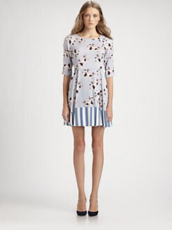 Suno - Mixed-Print Silk Dress