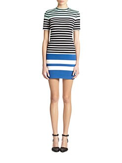 T by Alexander Wang - Striped Stretch Cotton Jersey Dress