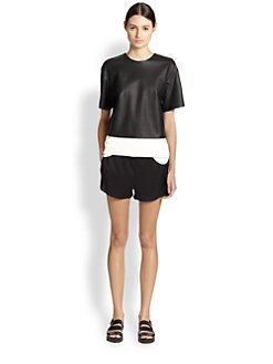 T by Alexander Wang - Two-Tone Leather/Woven Tee