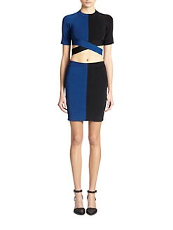 T by Alexander Wang - Two-Tone Crossover Cutout Cropped Top