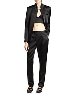 T by Alexander Wang - Open-Front Satin Blazer
