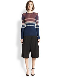 T by Alexander Wang - Bleach Stripe Ribbed Pullover
