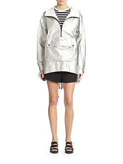 T by Alexander Wang - Coated Metallic Hooded Pullover Anorak