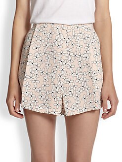 A.L.C. - Silk Floral-Print Shorts