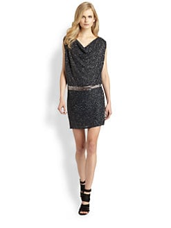 Haute Hippie - Beaded Silk Cowlneck Dress