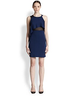 McQ Alexander McQueen - Draped-Top Mesh-Paneled Dress