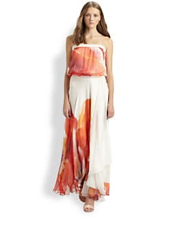 Haute Hippie - Strapless Silk Maxi Dress