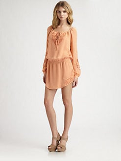Haute Hippie - Embroidered Silk Mini Dress