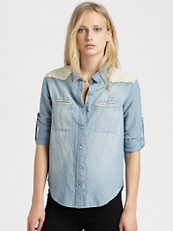 IRO - Leather-Trim Chambray Shirt