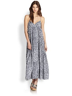 L'AGENCE - Leopard-Print Tiered Denim Maxi Dress