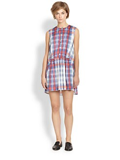 Thakoon Addition - Plaid Cape-Back Dress