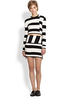 Thakoon Addition - Staggered-Stripe Cropped Sweater