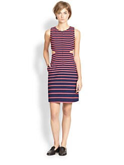 Thakoon Addition - Striped Cutout-Waist Dress