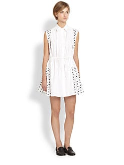 Thakoon Addition - Embroidered Dot-Paneled Sleeveless Cotton Shirtdress