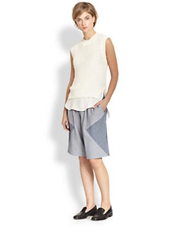 Thakoon Addition - Sleeveless Knit & Silk Underlay Combo Top