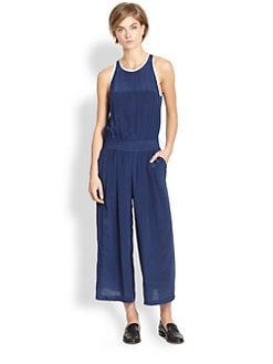 Thakoon Addition - Silk Split-Back Cropped Wide-Leg Jumpsuit