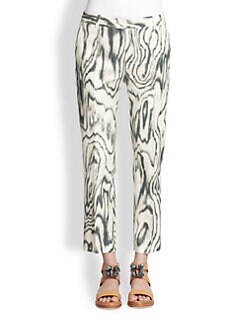 3.1 Phillip Lim - Cotton & Silk Cropped Woodgrain-Print Pants