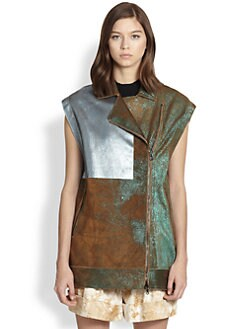 3.1 Phillip Lim - Colorblock Metallic Suede Biker Vest