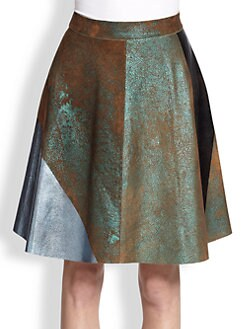 3.1 Phillip Lim - Metallic Colorblock Suede A-Line Skirt