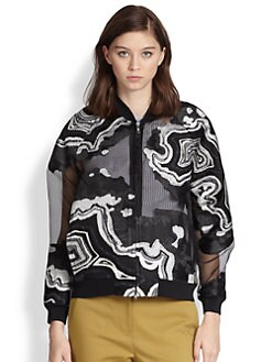 3.1 Phillip Lim - Geode Metallic Embroidered Chiffon Bomber Jacket
