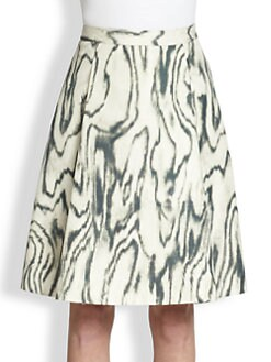 3.1 Phillip Lim - Cotton & Silk Woodgrain-Print Skirt