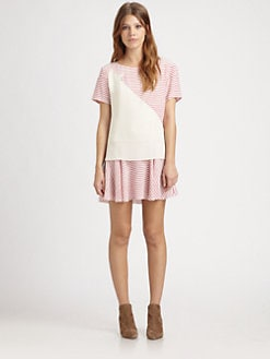 Thakoon Addition - Broken-Stripe Silk Shirtdress
