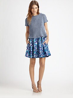 Thakoon Addition - Denim Knit & Woven Eyelet Top
