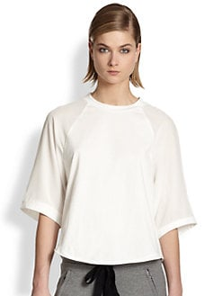 3.1 Phillip Lim - Silk-Sleeved Cotton Baseball Tee