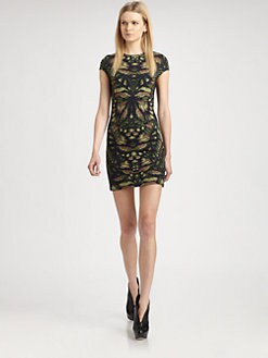 McQ Alexander McQueen - Printed Cap-Sleeve Dress