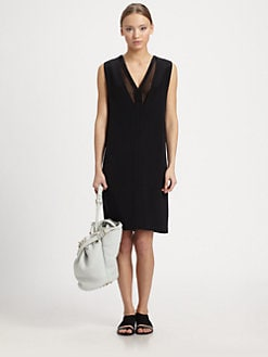 Alexander Wang - Silk Crepe V-Neck Dress