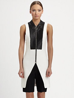 Alexander Wang - Leather-Bib Twill Vest