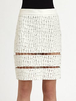Alexander Wang - Leather Glow-In-The-Dark Eyelet Skirt