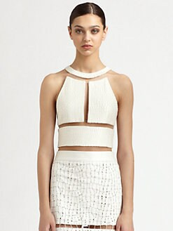 Alexander Wang - Reptile Silk Illusion Crop Top