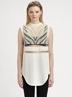 Alexander Wang - Mesh-Trim Glow-In-The-Dark Eyelet Tank