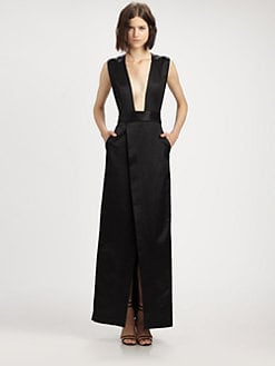 Theyskens' Theory - Deep-V Satin Gown