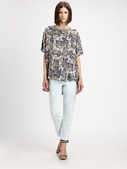 Theyskens' Theory - Bonit Silk Laser-Print Hi-Lo Top